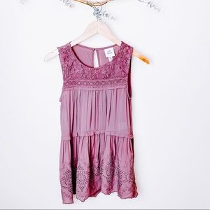 Knox Rose Purple Floral Embroidered Tank Top XS